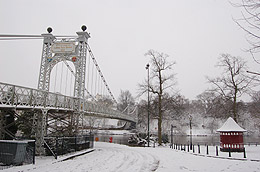 River Dee Suspension Bridge in the snow