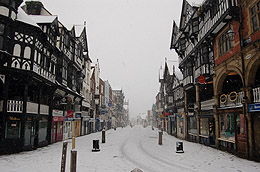Snowing in Chester - Bridge Street